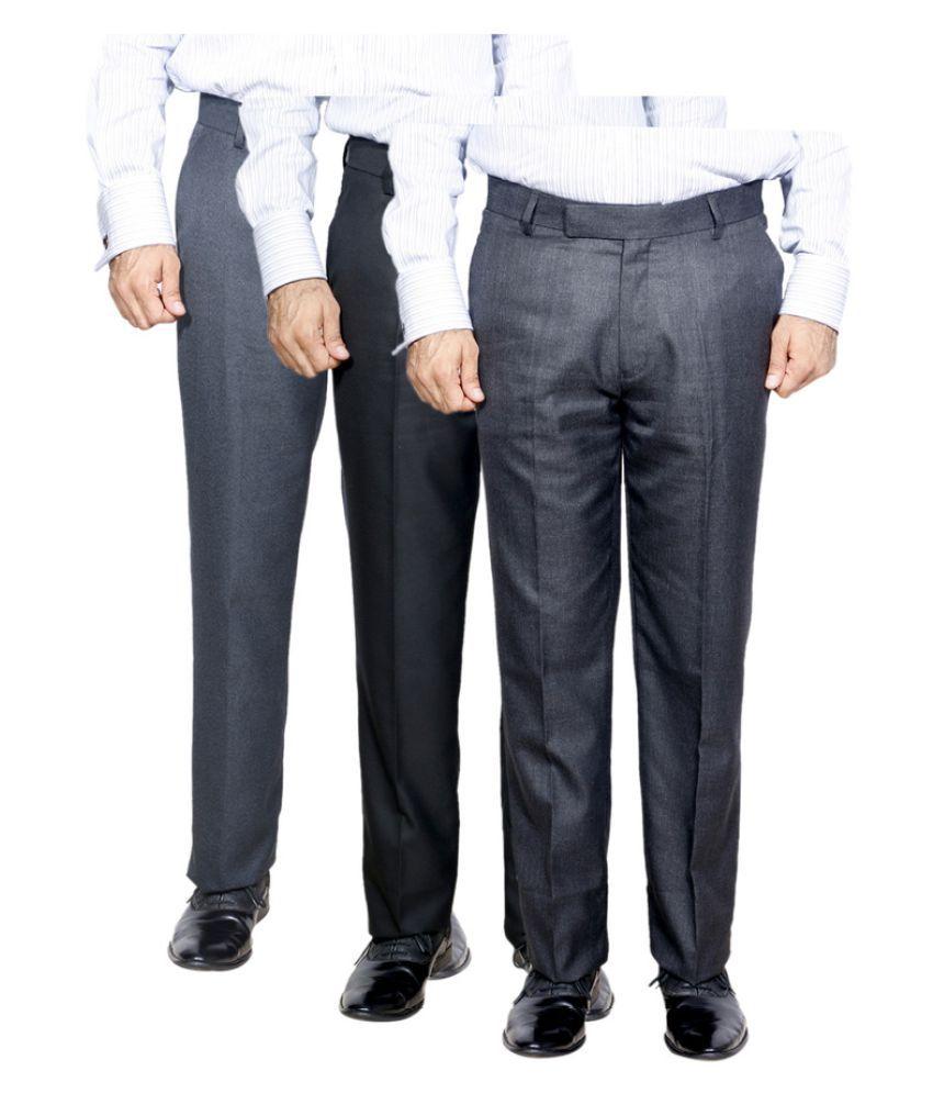 IndiWeaves Grey Regular Flat Trouser