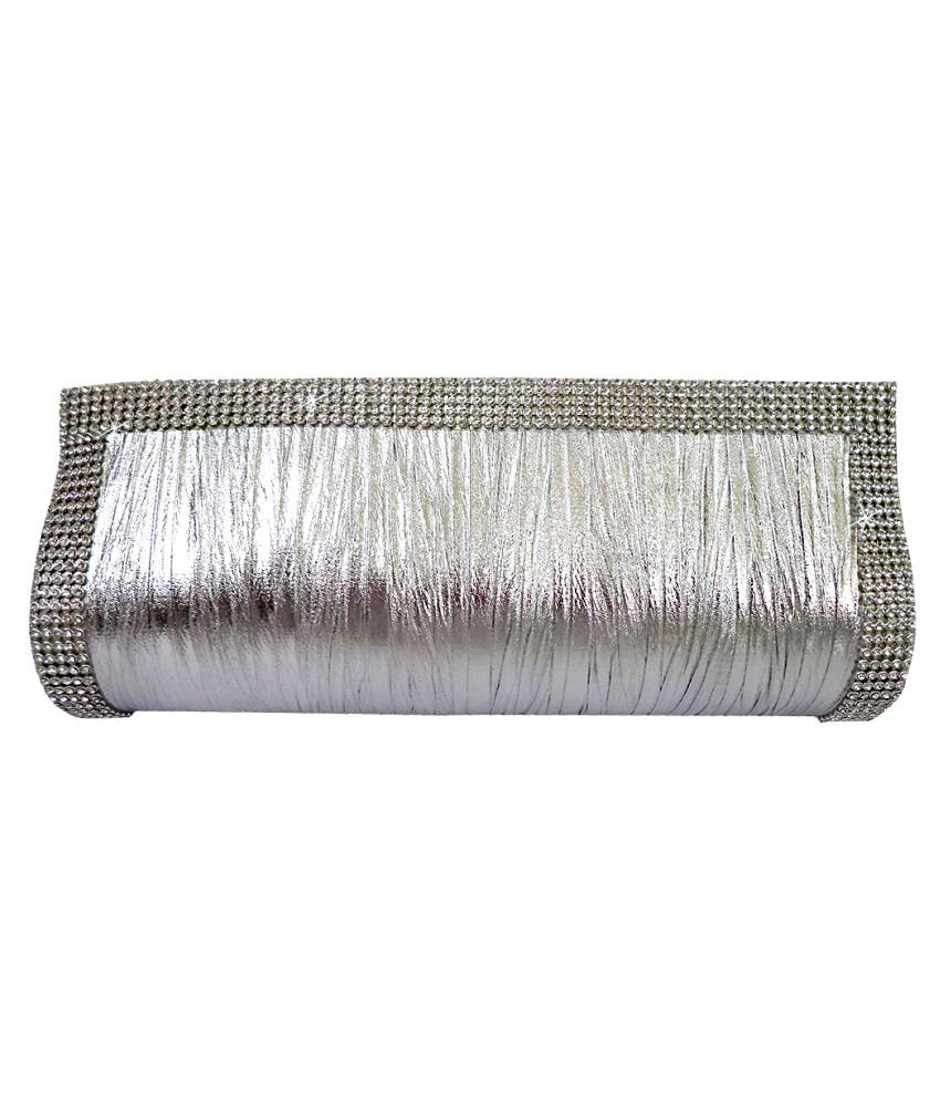 Catman Silver Faux Leather Clutch