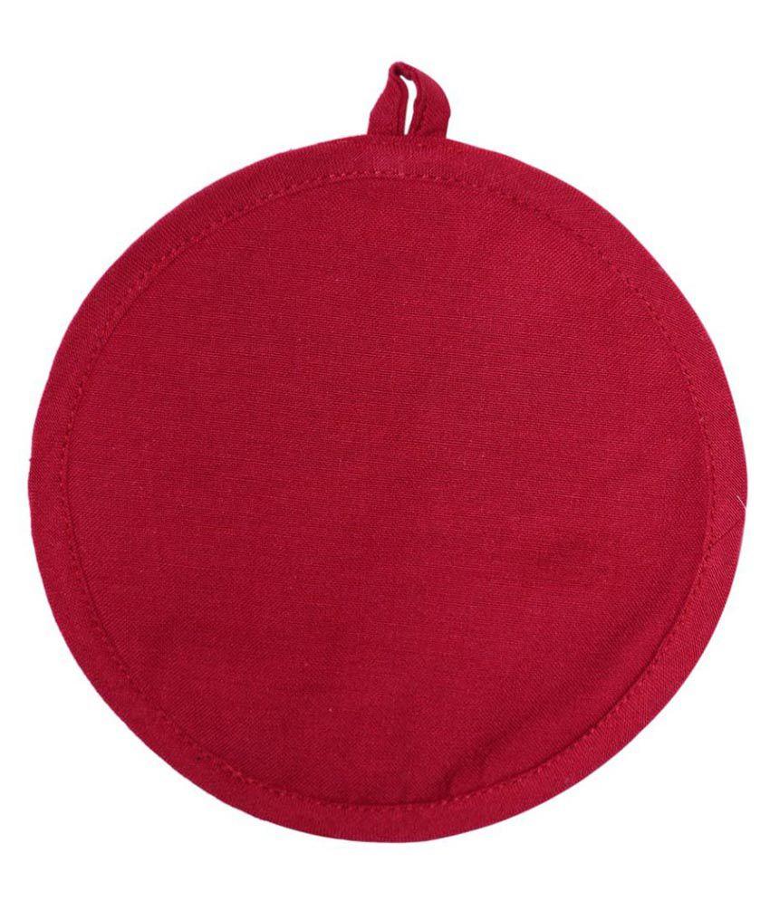 Ocean Collection Plain Red  Color Round 100% Cotton 1 Pot Holder