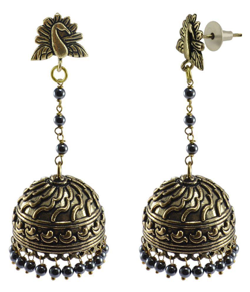 Silvesto India Jhumki Earrings For Women Black