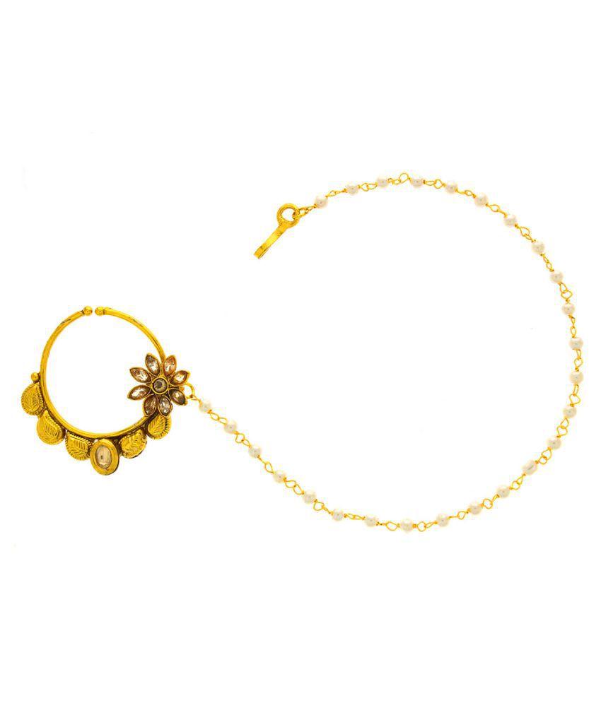 Anuradha Art Golden Plated Alloy Nosering