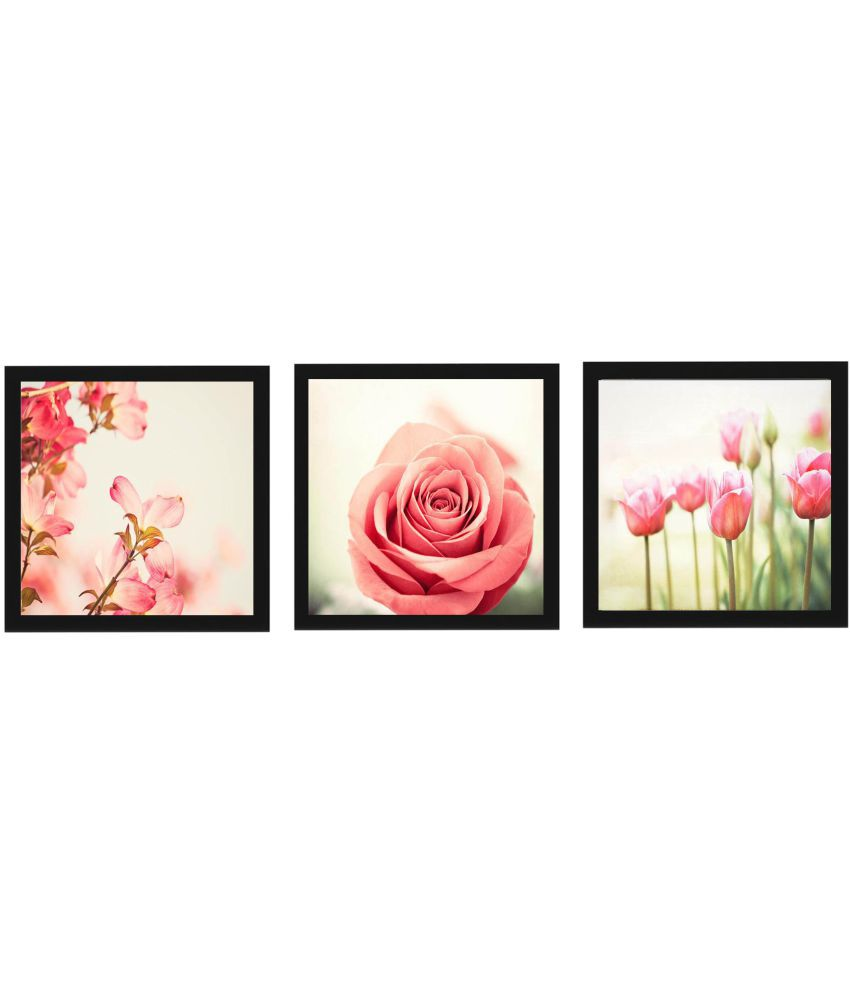 Craftsfest 3 Sets of Rose Wood Painting With Frame Set of 3