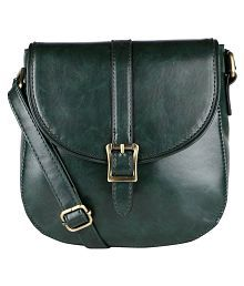 Lino Perros GREEN Faux Leather Sling Bag