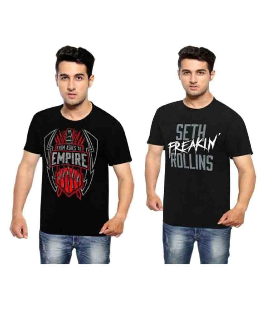 Wwe Black Round T-Shirt Pack of 2