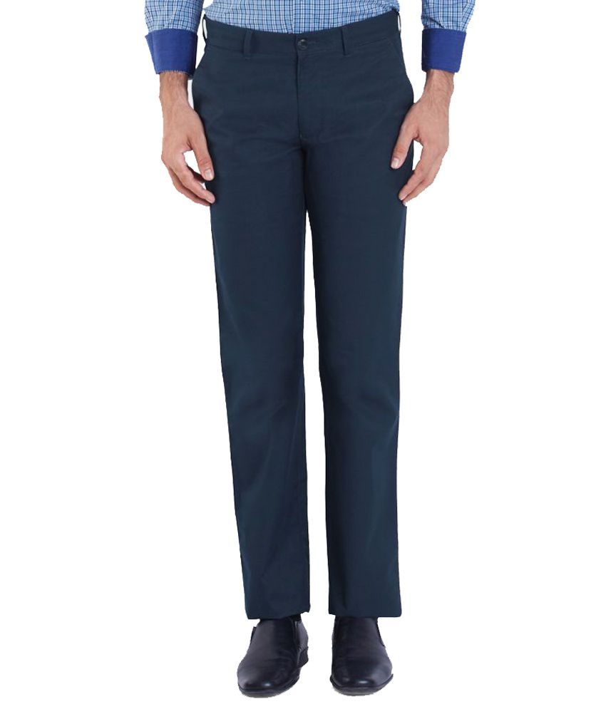 Colorplus Blue Regular Flat Trouser