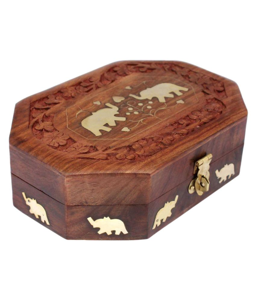 Craftgasmic Brown Handmade Wooden Jewellery Box for Women