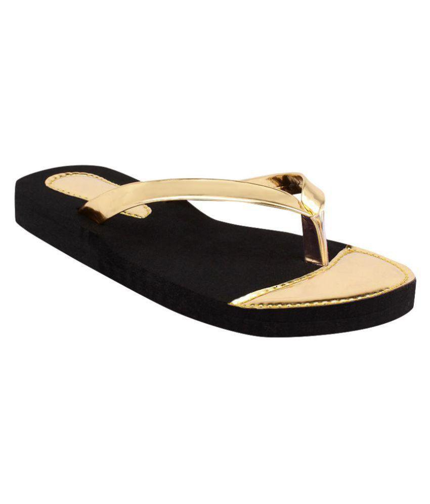 Shoez Hub Gold Slippers
