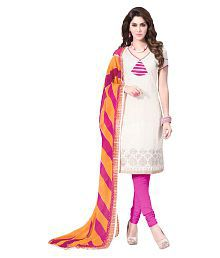 A And V Fashion Off White Cotton Dress Material