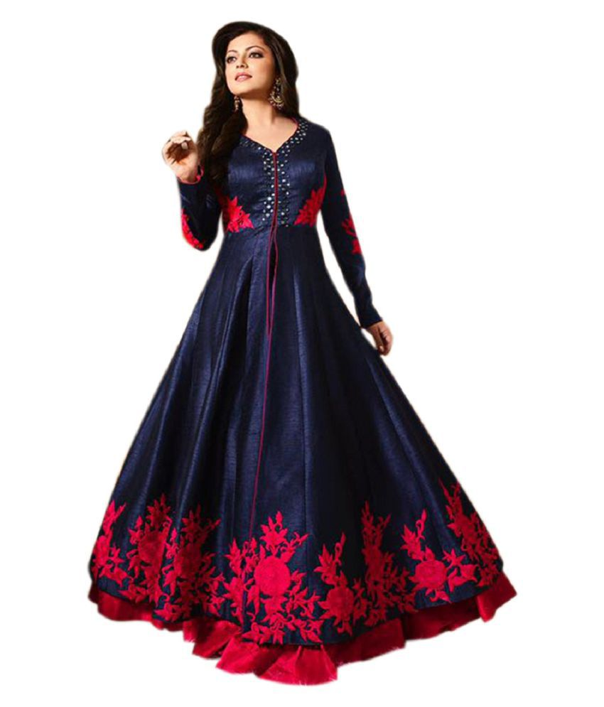 Active Blue And Red Bangalore Silk Anarkali Gown Semi