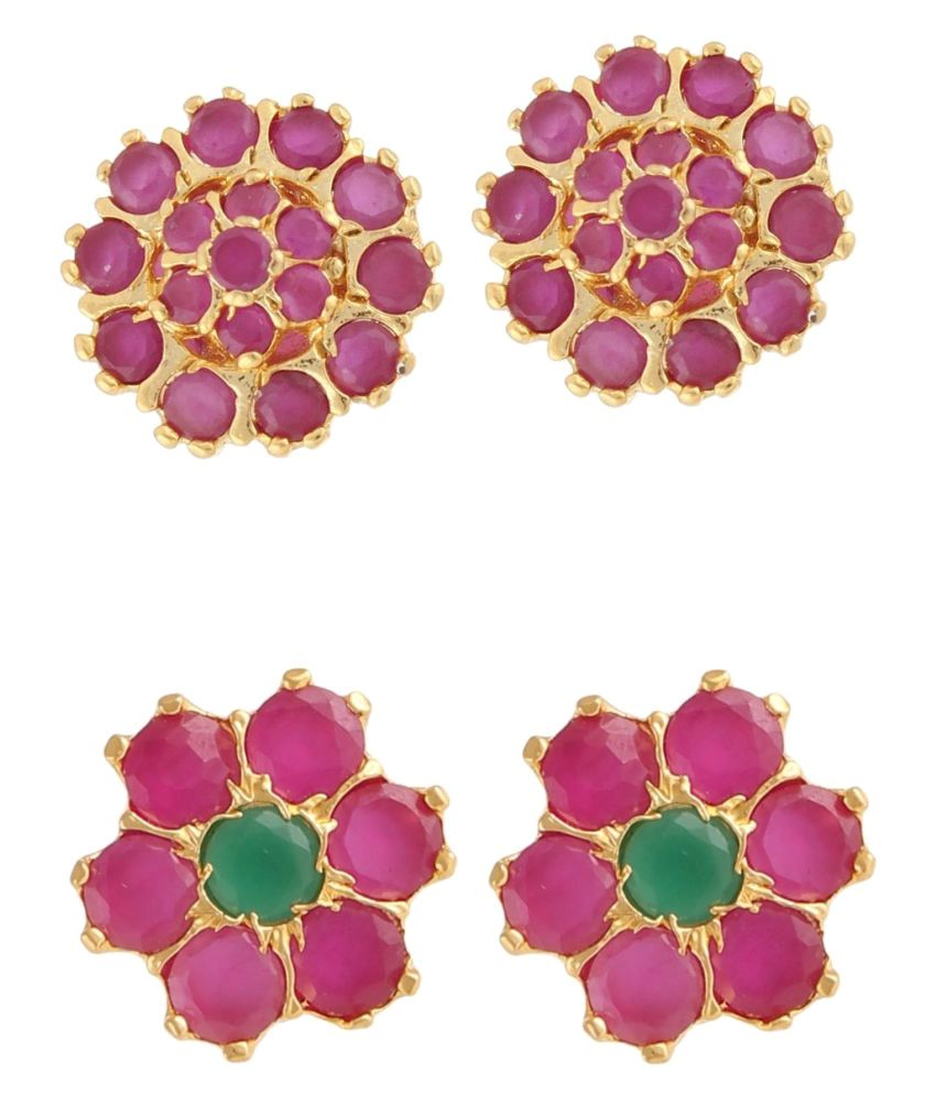 Efulgenz Multicolour Stud Earrings - Pair of 2