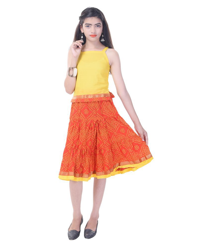 acd8874957d Rajasthani Sarees Cotton Printed Girls Top and Bottom Set - Buy ...