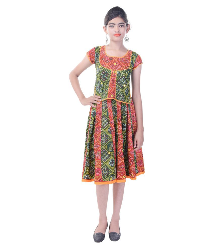be35ffb298b Rajasthani Sarees Multicolour Cotton Girls Top And Skirt Set - Buy  Rajasthani Sarees Multicolour Cotton Girls Top And Skirt Set Online at Low  Price - ...