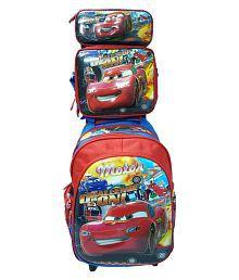 Tasni Blue And Red School Trolley Bag 3 in 1