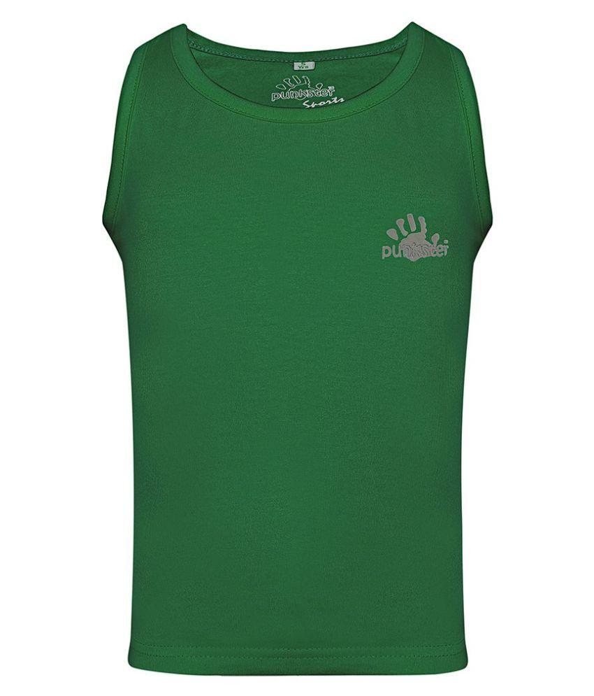 Punkster Cotton Lycra Green Sleeveless Top