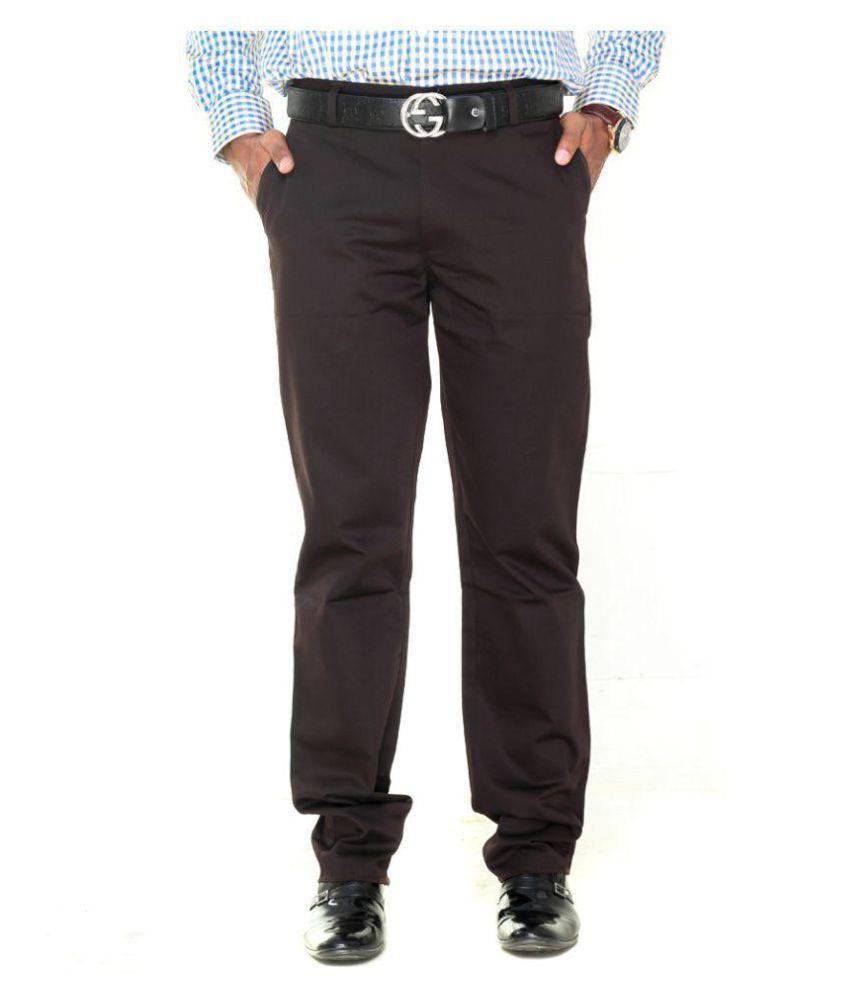 TMG Textiles And Garments Dark Brown Regular Flat Trouser