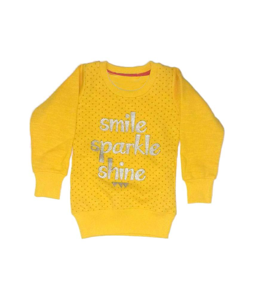 Cuddlezz Yellow Crew Neck Sweatshirts