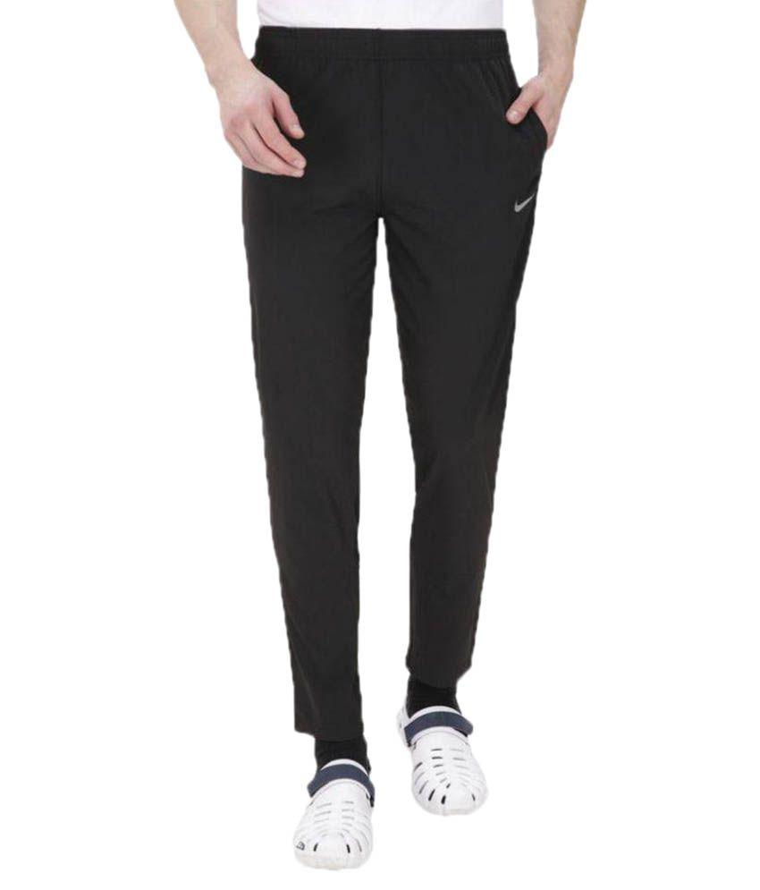 Nike Black Polyester Lycra Trackpants Single