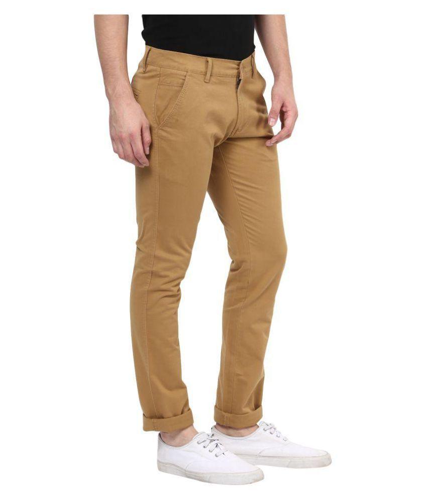 BUKKL Khaki Slim Pleated Trousers