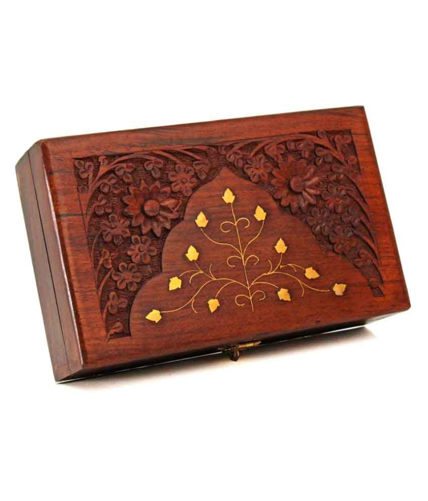 Finger's Diwali Gifts Wooden Keepsake Storage Box Jewelry Trinket Holder Organizer Floral Hand Carvings with Brass Inlay