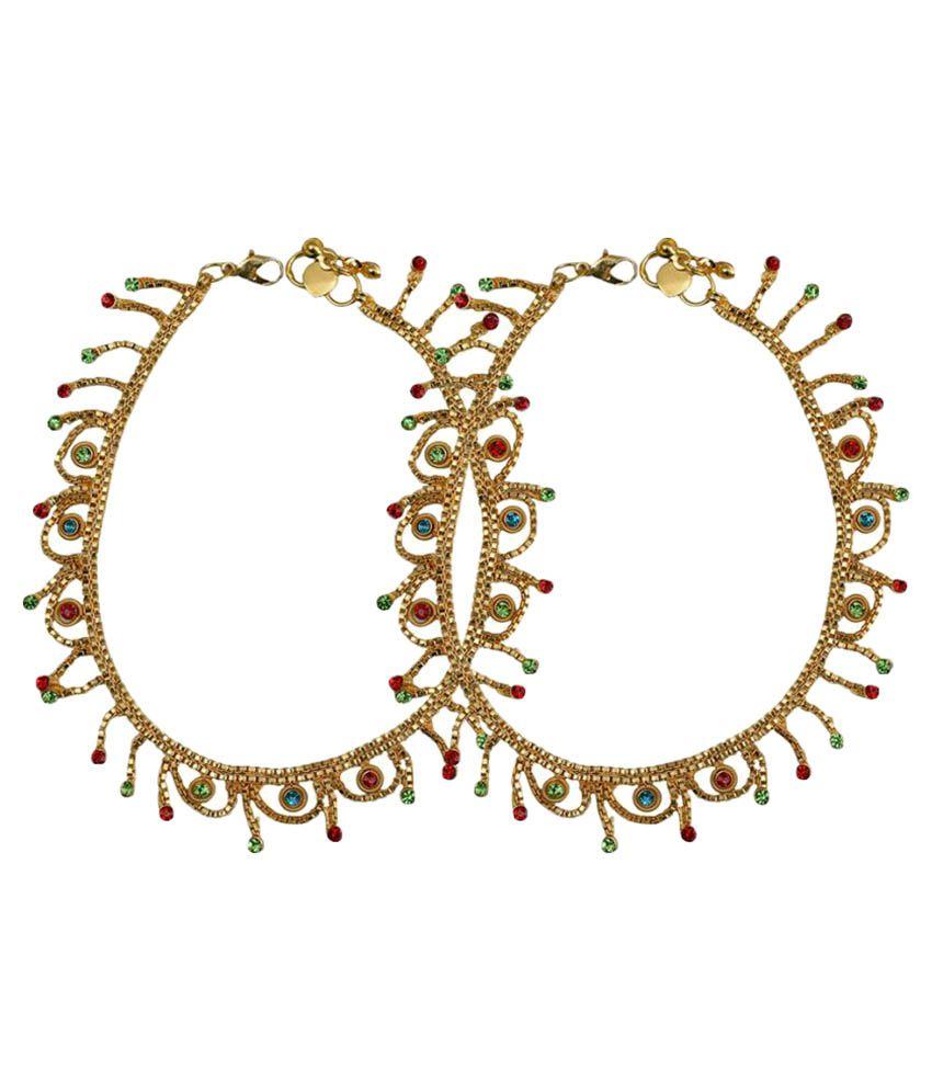 Taj Pearl Golden Anklets