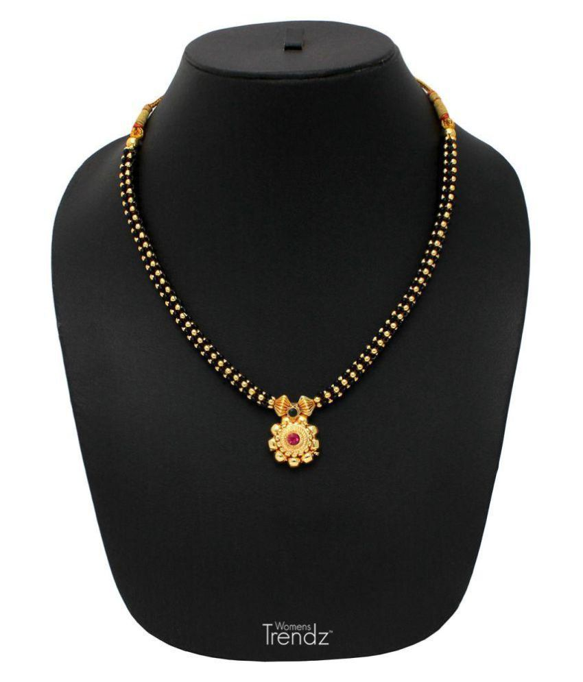 Womens Trendz Black Mani Thushi 24K Gold Plated Alloy Mangalsutra