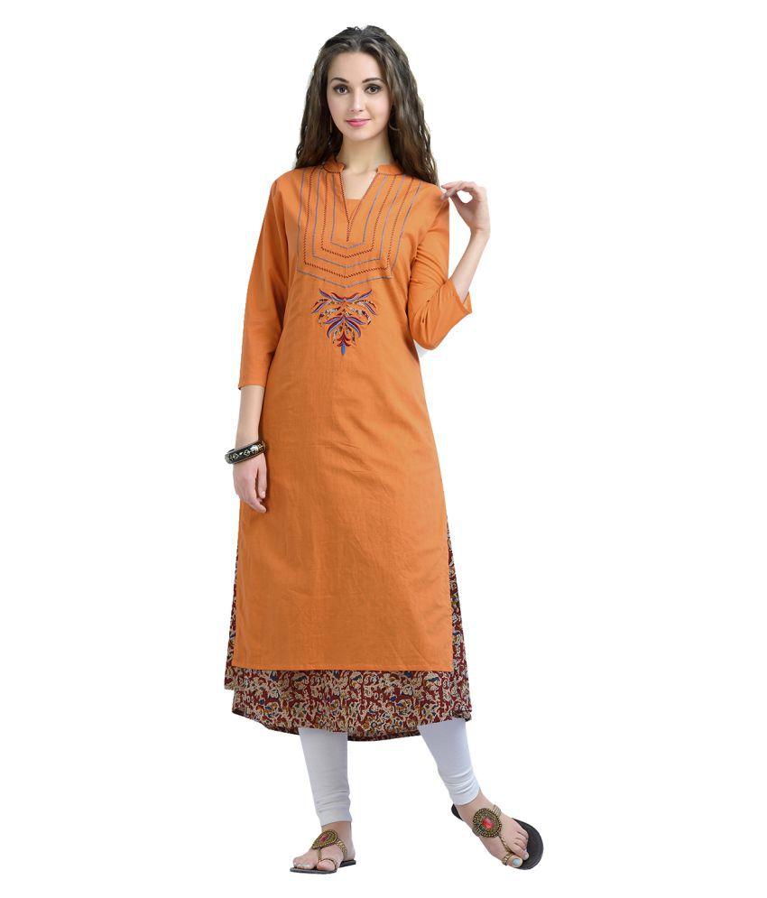 zola orange cotton double layered kurti buy zola orange cotton rh snapdeal com
