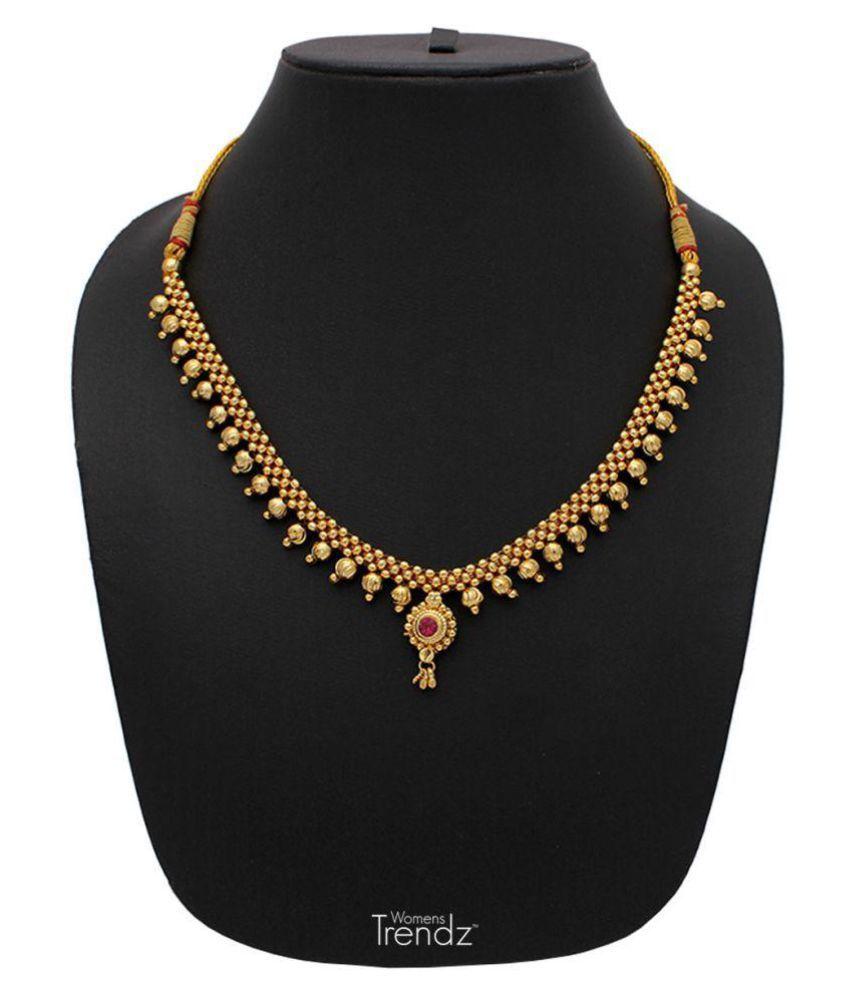 Womens Trendz Full Jhaler Vertical Ball Thushi 24K Gold Plated Alloy Necklace