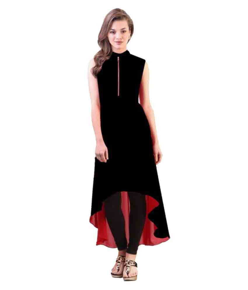 Urbane Woman Black Crepe High Low Hemline Kurti