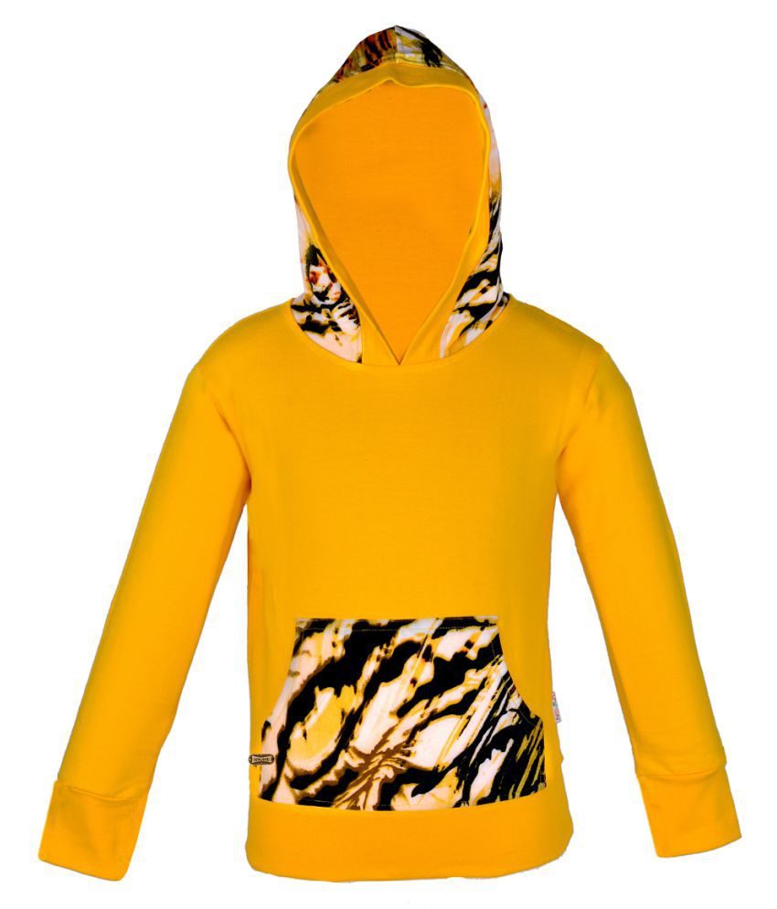 Gkidz Yellow Hooded Full Sleeve Sweatshirt with Kangaroo Pockets