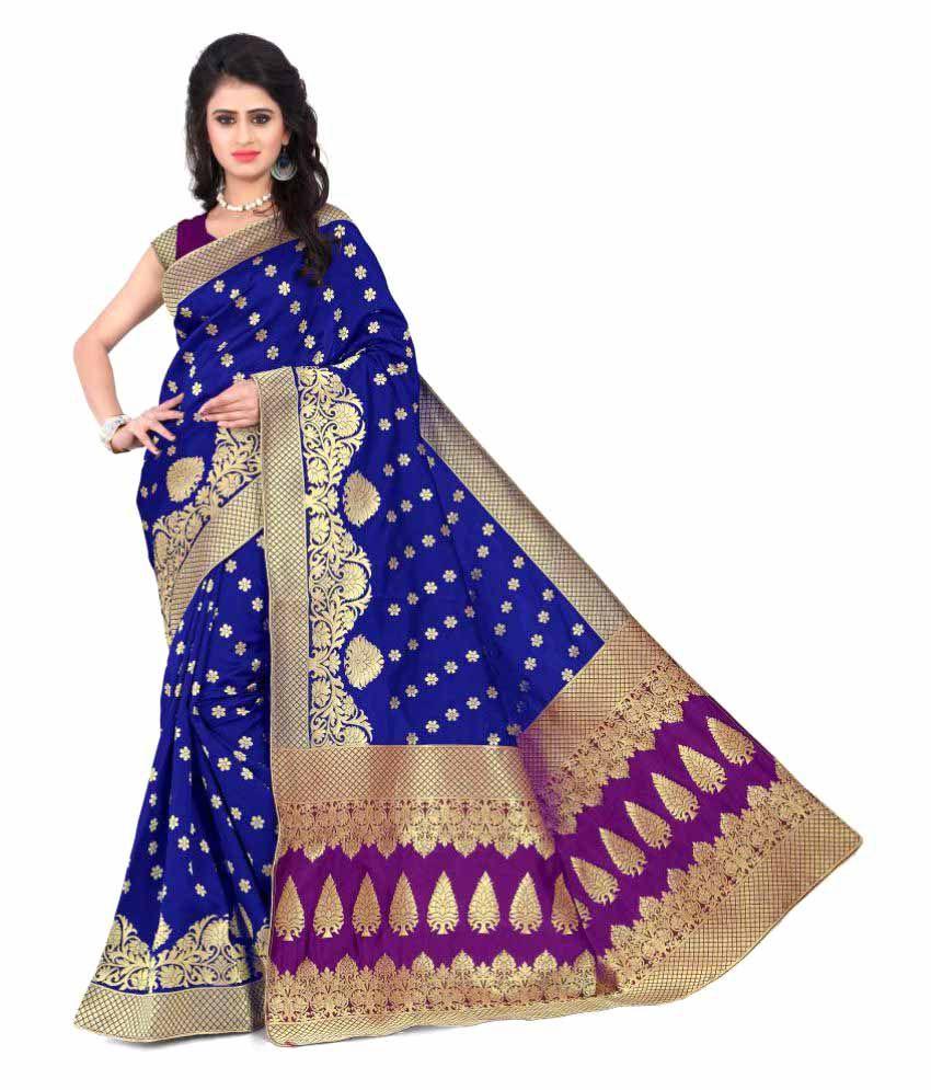 Granth Blue Banarasi Silk Saree