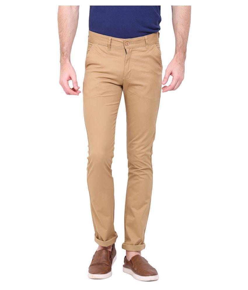 Duke Beige Slim Flat Trousers