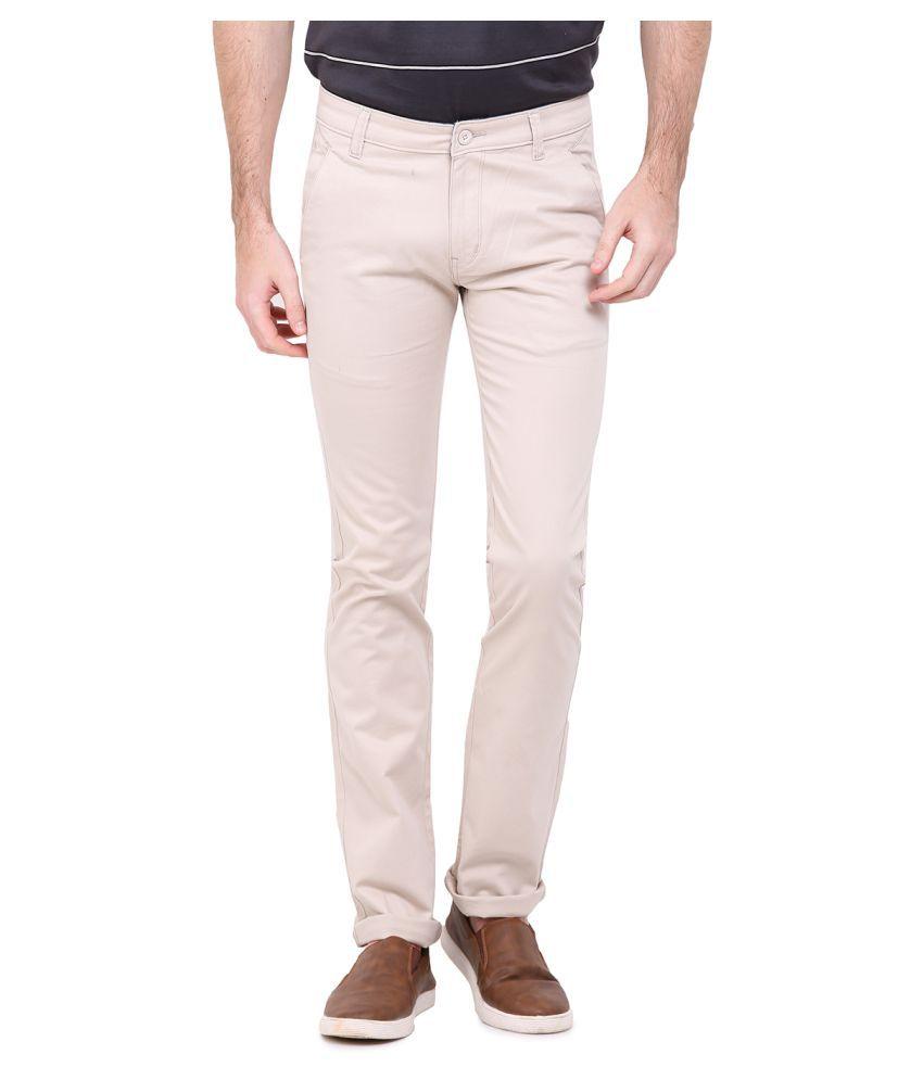 Duke White Regular Flat Trouser
