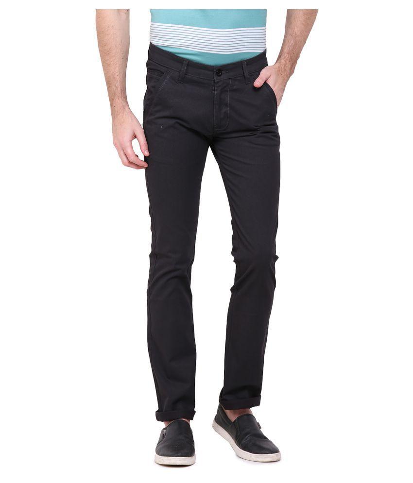 Duke Black Regular Flat Trouser