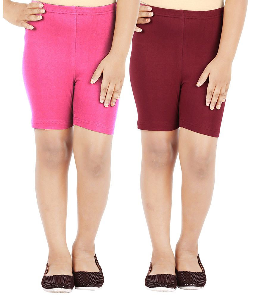 Lula Multicolor With Stretch Girls Shorts Pack of 2