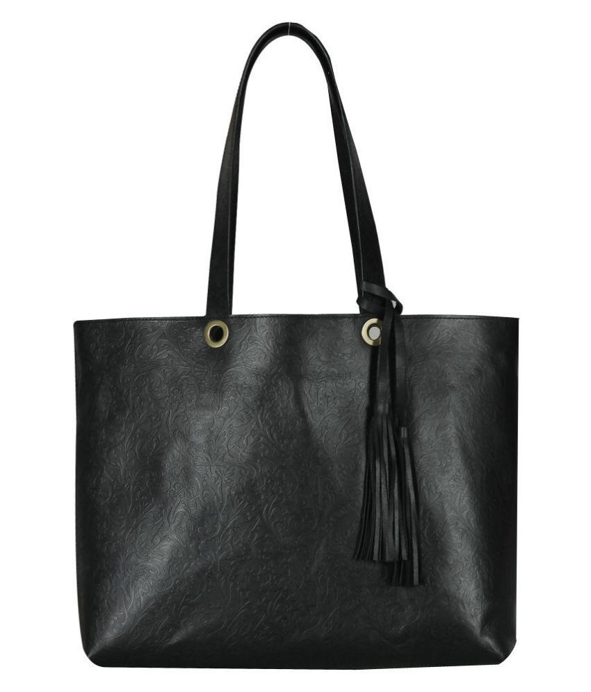 Risa Black Pure Leather Shoulder Bag