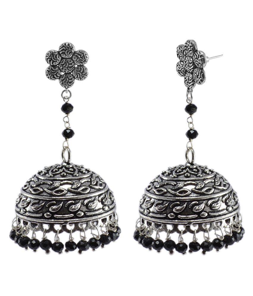 Silvesto India  Black Crystal And Flower Jhumki Earrings