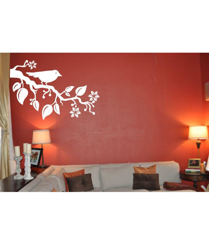 Wall Guru Bird On Tree White Vinyl Wall Stickers Buy Wall Guru