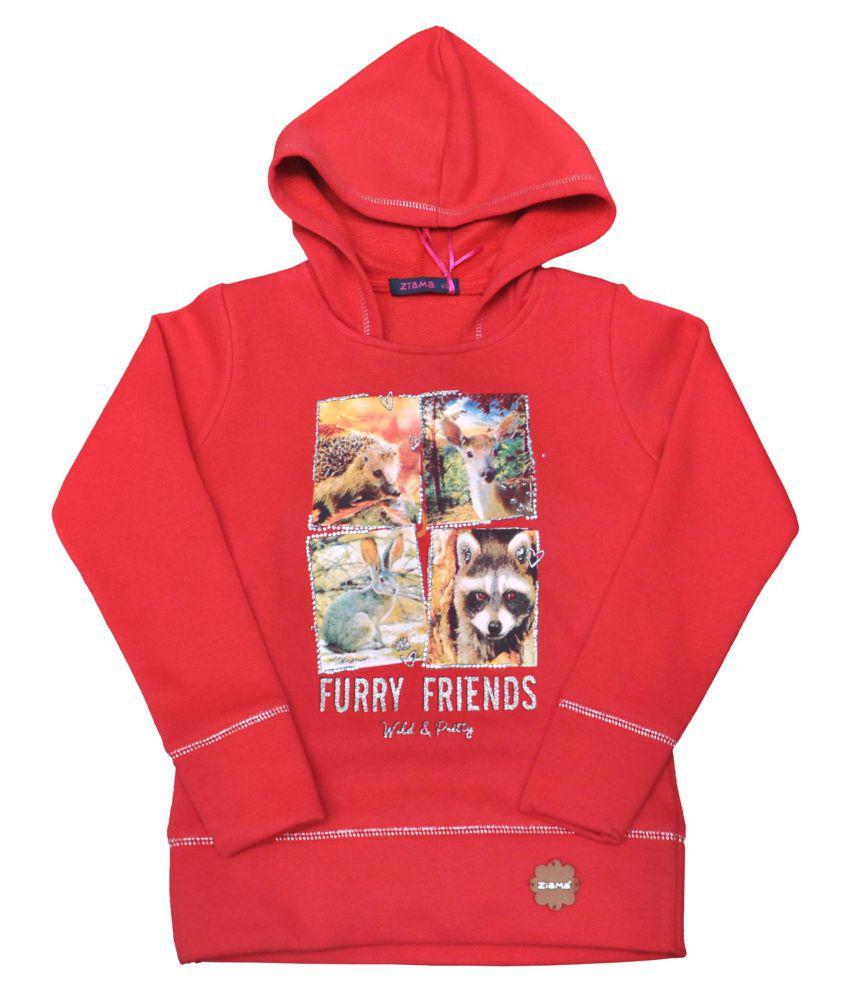 Ziama Red Printed Sweatshirts For Girls