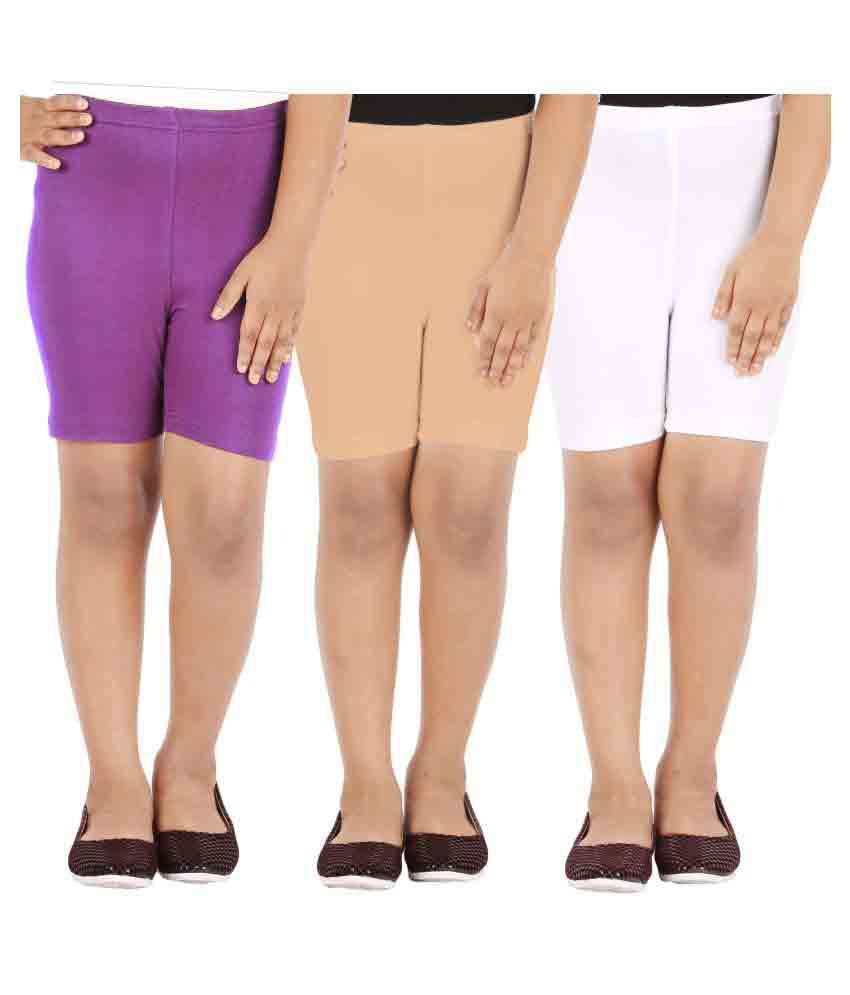 Lula Girl's Spandex Shorts (Pack Of 3)