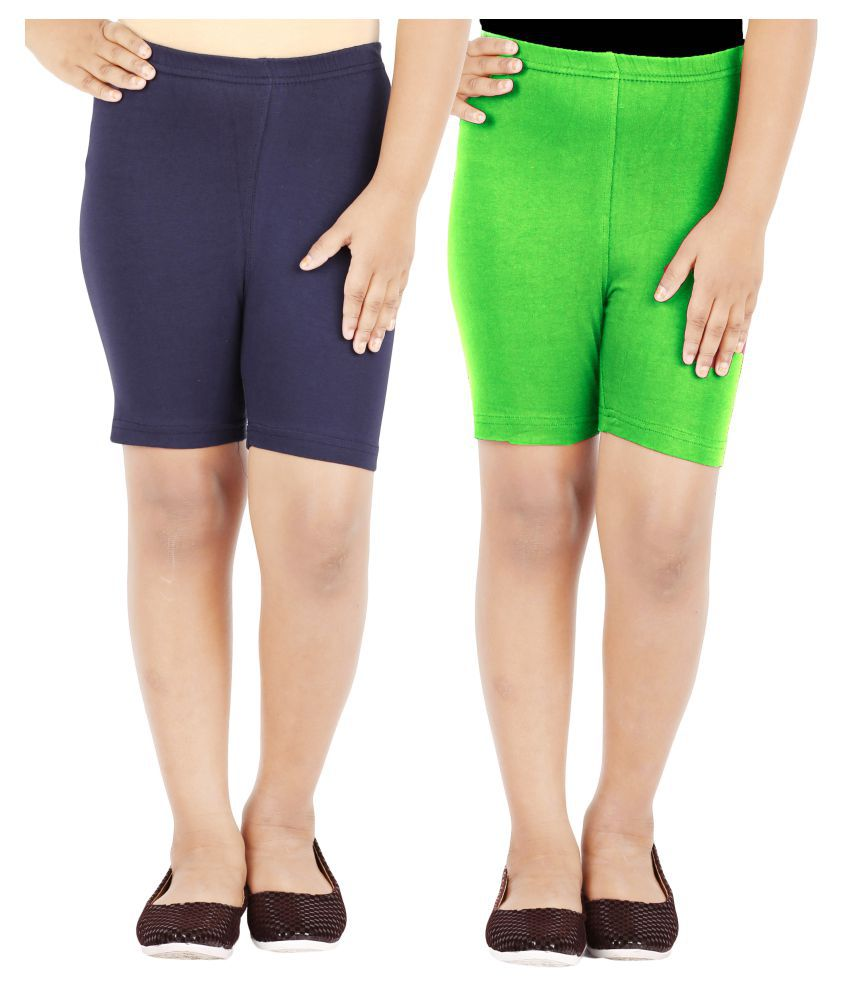 Lula Multicolor Cotton Spandex Cycling Shorts - Pack of 2