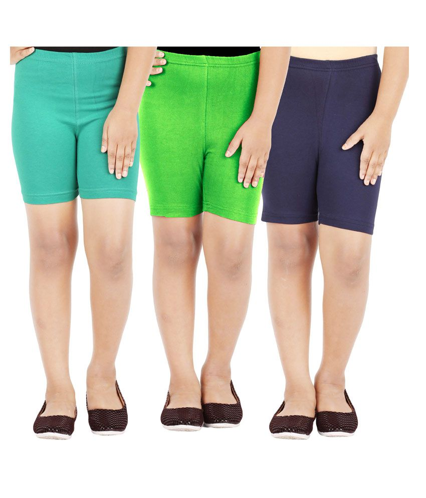 Lula Multicolour Cotton Spandex Cycling Shorts - Pack of 3