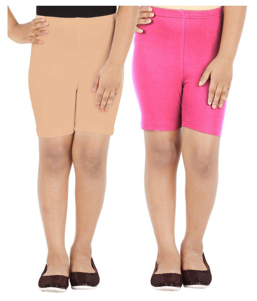 Lula Multicolour Cotton Spandex Shorts - Pack of 2