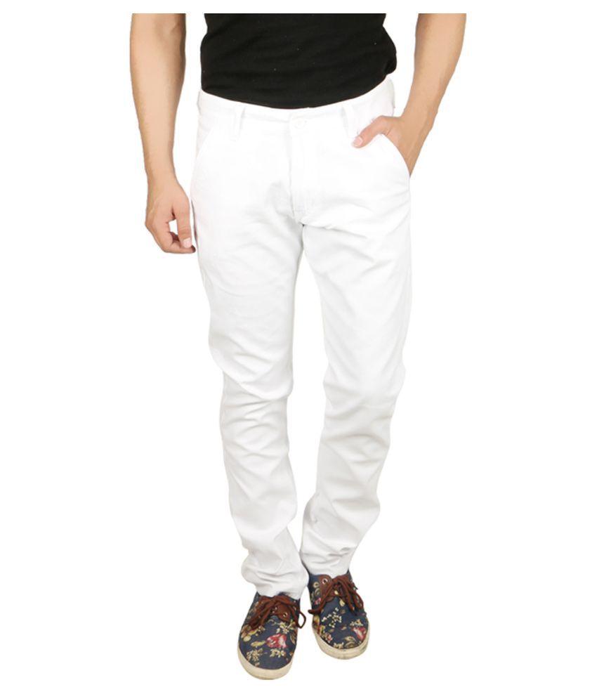 Nimegh White Slim Flat Trouser