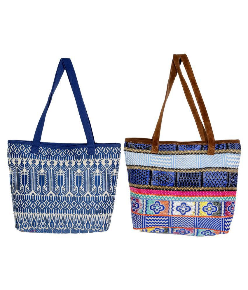Indiweaves Multicolour Canvas Shoulder Bag - Pack of 2