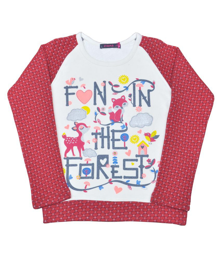 Ziama Printed Fleece Sweatshirt For Girls