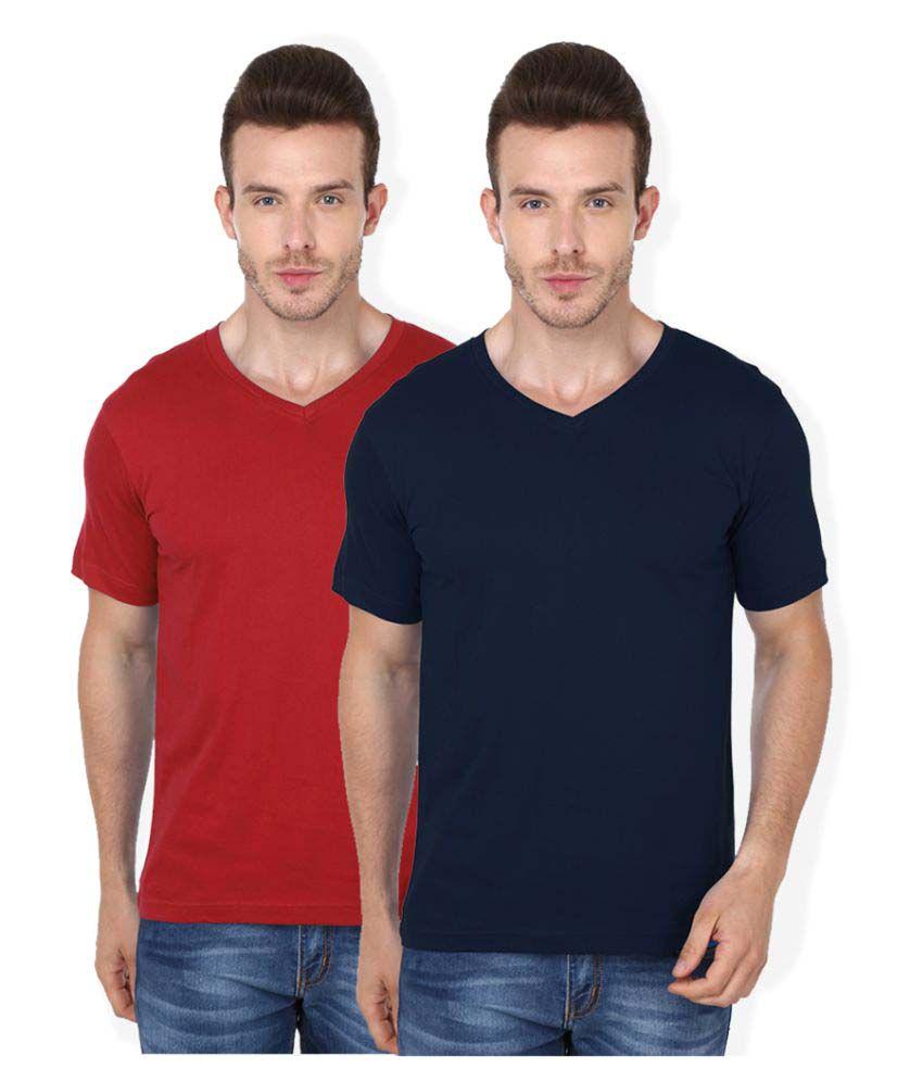 99tshirts Multi V-Neck T-Shirt Pack of 2