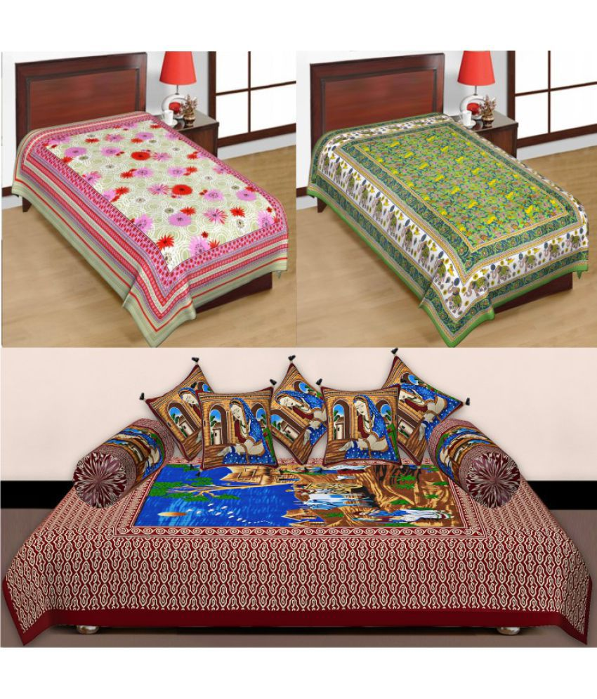 Bedding bazar single cotton multicolor printed bed sheet for Double bed diwan set