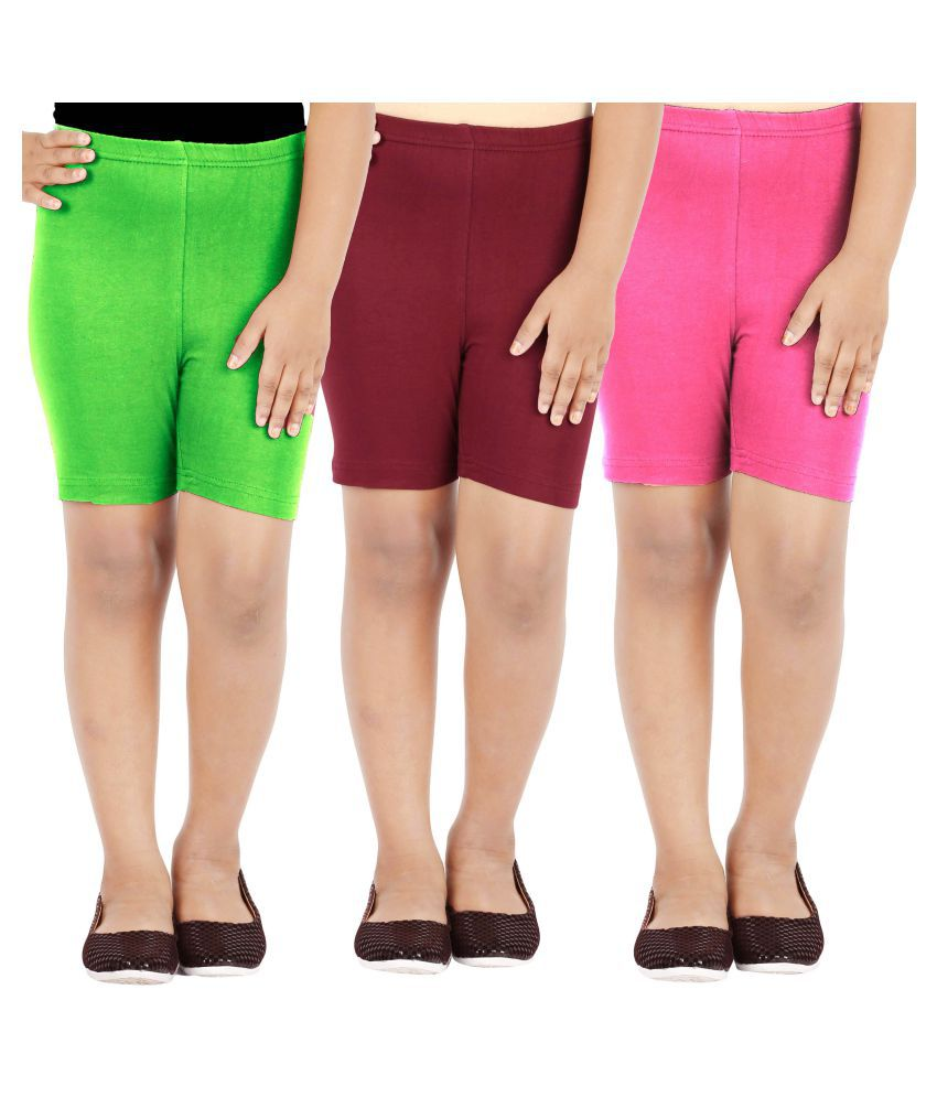 Lula Multicolour Cotton Spandex Shorts for Girl's  - Pack Of 3