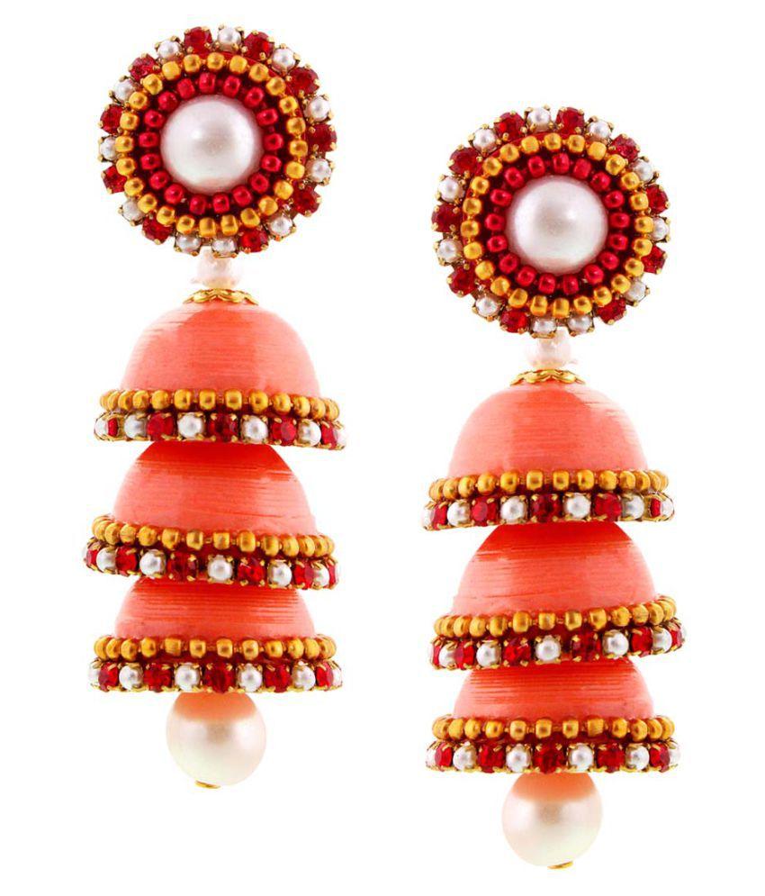 Shreemangalammart Orange Jhumki Earrings