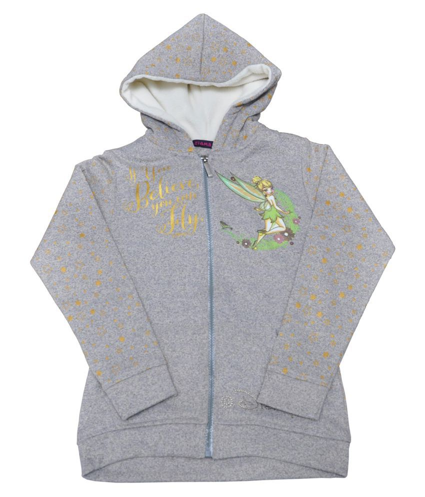 Ziama Gray Fleece Sweatshirts For Girls